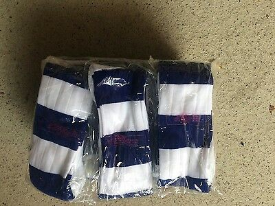 Blue and white hoop football/ rugby socks, 15 pairs, men's size 7-12.