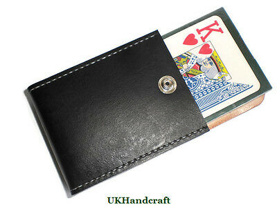 Leather Playing Card Case Holder and Cards, Handmade in Britain by UKHandcraft