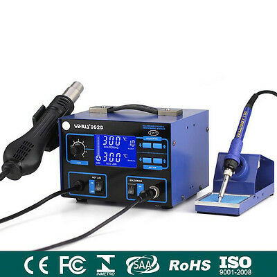YIHUA 992D 2-in-1 Hot Air Gun + Soldering Iron Rework Station with PID Precision