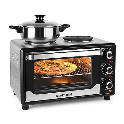 Klarstein Omnichef Small Oven Double Hotplate 23 L 1500W Convection Hob Kitchen