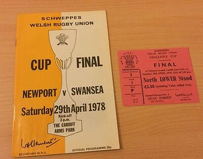 1978 SCHWEPPES WELSH RUGBY UNION CUP FINAL PROGRAMME & TICKET NEWPORT v SWANSEA