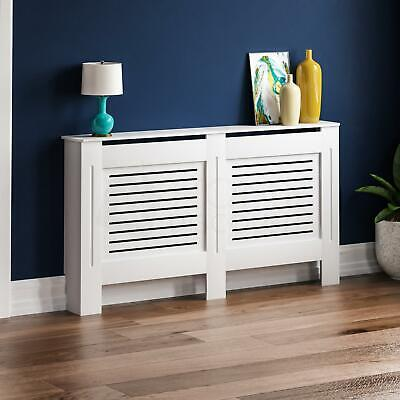 MILTON RADIATOR COVER Large White MDF Modern Grill Guard Cover Shelf