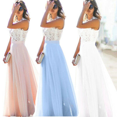 Formal Long Women Lace Maxi Dress Prom Evening Party Cocktail Bridesmaid Wedding