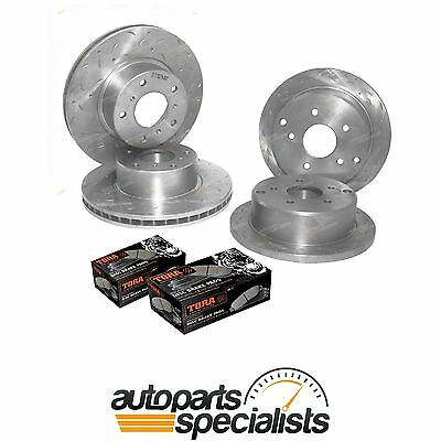 4 Front+Rear Slotted+Drilled Disc Rotors + Pads Commodore VT VX VU VY VZ Brake
