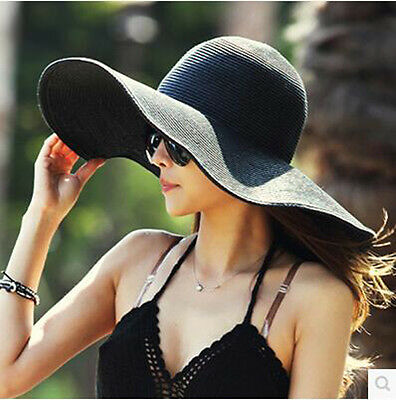 US Women's Wide Large Brim Floppy Summer Beach Sun UV Proof Hat Straw Hat Cap