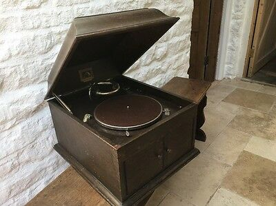 HIS MASTERS VOICE TABLE MODEL 103 Wind Up Clockwork Gramophone Needs New Spring