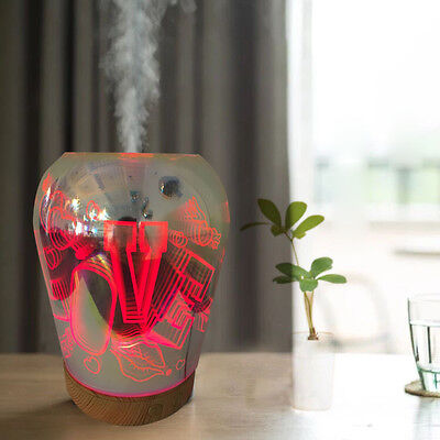 100ml Ultrasonic Cool Mist Humidifier with 3D Effect and 16LED Night Light Color