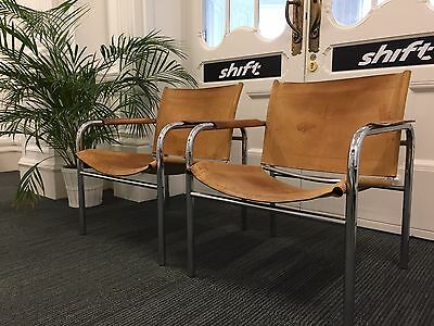 Mid Century Tan Leather Pair Of Chairs