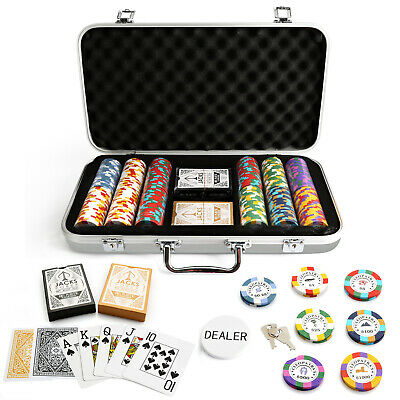 300 Chips Poker Set Silver Aluminium Case Cleopatra's 14g Chips Plastic Cards