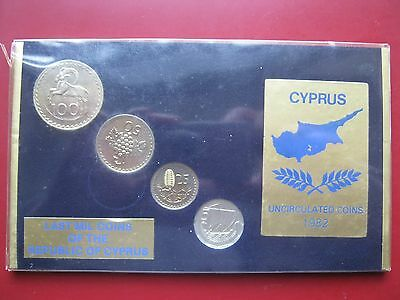 Cyprus 1982 UNC 4 coin set  5 25 50 100 Mils Last Mil coinage of the Republic