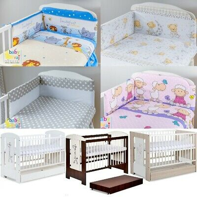 8-Pcs Complete Set Incl 6-Pcs Bedding Drape + Baby Cot + Container + Mattress Hq