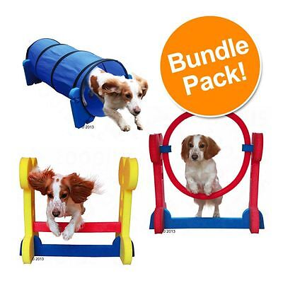 Agility Dog Set Puppies Small Dog Hurdle Hoop Tunnel Fun Sport Training Play New