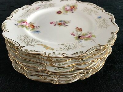 Beautiful 8 old paris porcelain Plates Hand painted Cabinet Plate