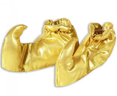 Aladdin One Size Genie Shoe Covers Gold Pantomime Fancy Dress Sultan Play