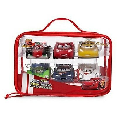 Disney Store Pixar Cars Bath Toys Set 6 Piece Fun Toy Playset & Case