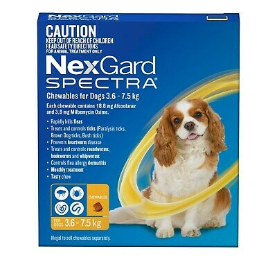 Nexgard Spectra Flea, Tick, Heart & All-Wormer Chew for Dogs 3.6-7.5kg