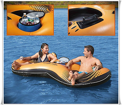 Inflatable Tube Towable Water Boat Raft Float 2 Person Relax w/ Portable Cooler