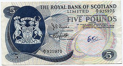 ROYAL BANK OF SCOTLAND SCOTTISH £5   BANKNOTE 19TH March 1969
