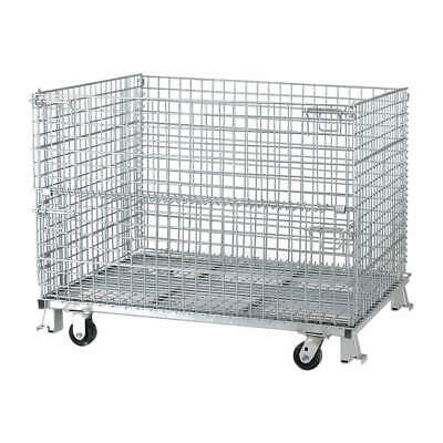 NASHVIL Steel Wire Mesh Collapsible Container,48 In W,Silver, C404836S4C, Silver