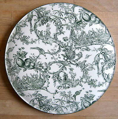 SPODE Cake Plate WILLIAMSBURG PROVINCIAL GARDEN Green English Country House 12""