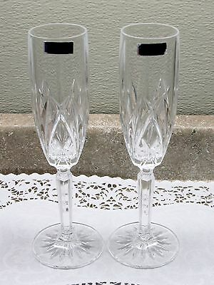 2 New Waterford Crystal Champagne Wine Flutes Marquis Brookside Signed 4 Wedding