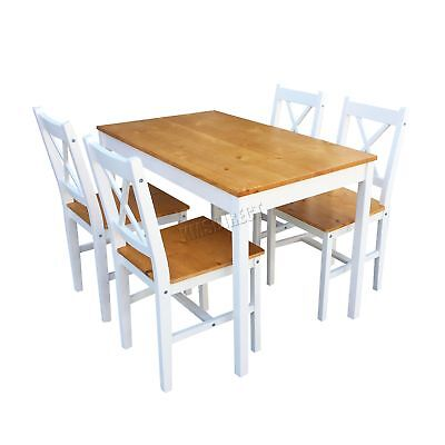FoxHunter Solid Wooden Dining Table With 4 Chairs Set Kitchen Furniture Honey