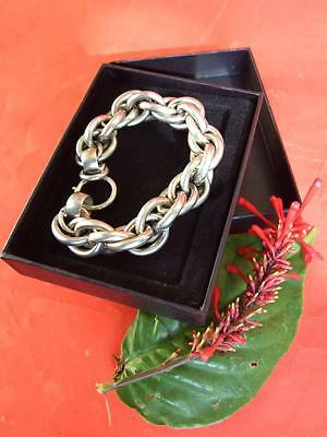 Chinese Fine Silver Huge Curb Link Antique Bracelet Hallmarked Jewellery 54grams