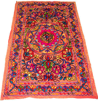 Indian Antique Embroider Table Runner Wall Hanging Home Decor Kashmiri Tapestry