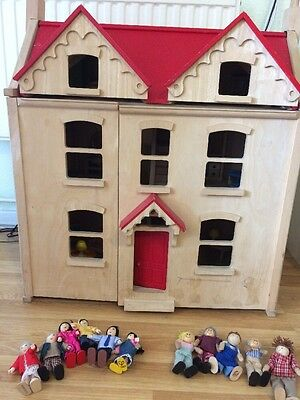 Three story Wooden Dolls House With Furniture And 2 Families