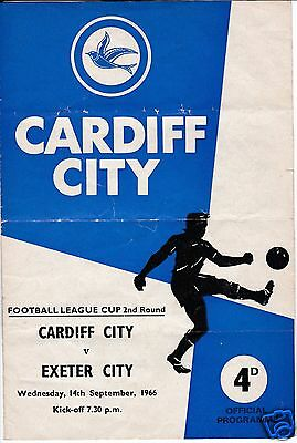 Cardiff City V Exeter  City   League Cup  14/9/66