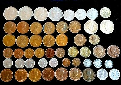 Lot of 52 Old English mixed Coins of England - 5 Pounds Pence Pennies 1930s-80