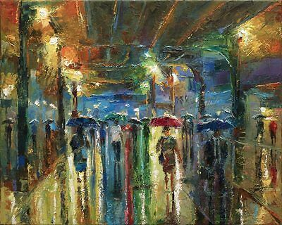 Rainy City Oil on Canvas 50 x 40 cm Original Large Painting by Dusan