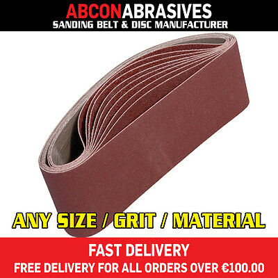 10 x Abrasive Sanding Portable Belts 75x533mm (P36-P500) Manufactured in Ireland