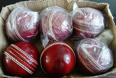 CRICKET 4PIECE DARK RED LEATHER BALLS. Perfect for match & practice( Box of 6).