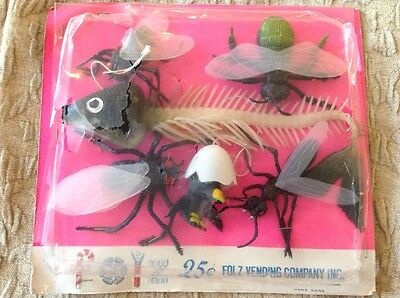 Old FOLZ Card hanging JIGGLER Bugs Fly Ant Egg LARGE Fish Skeleton Pterodactyl