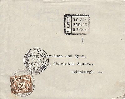 H 192 Unpaid London to Edinburgh cover, T mark, 5d postage due stamp