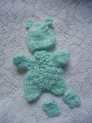 """Doll Clothes Mint Green Hand-Knitted 3 pcs romper fit Berenguer Baby 5"""" ooak 6"""