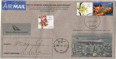 South African Airways 2007 50th Anniv Indian Ocean Service Pilot Signed