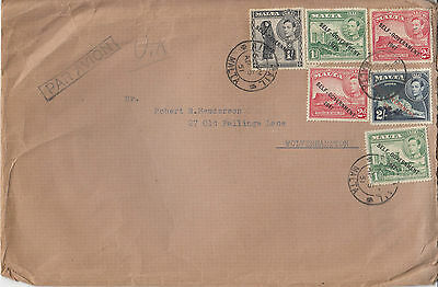 H 604 Malta 1951 airmail cover to UK 6 stamps; 3 shillings 6d rate