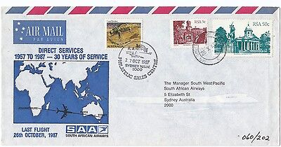 South Africa Australia 30th Anniv & Last Flight 1987 each way covers (2)