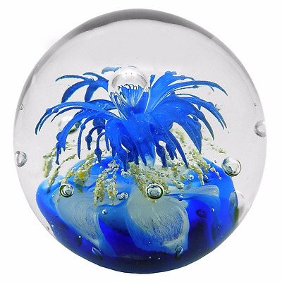 New Glass Paperweight Blue Gold Explosion Gift Box 7 x 7 x 7 cm