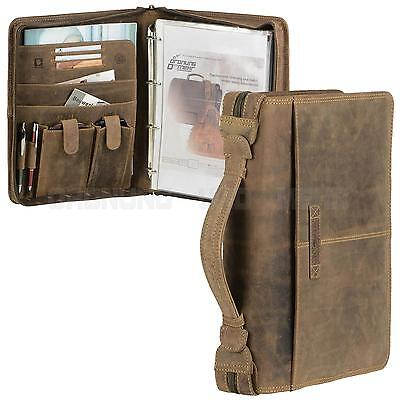 Leather A4 Conference Folder with Ring Binder Zipped Portfolio brown VINTAGE NEW