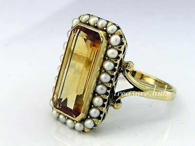 C999 Genuine 9ct Yellow Gold Natural Citrine Pearl Cluster Cocktail Ring size N