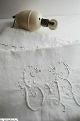 Antique French HEAVY linen cotton bed sheet LARGE CR monogram c1890