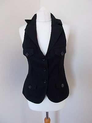 Women's Faded Black Collared Waistcoat Vest  By New Look Size 12