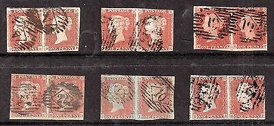 GB QV 1841 1d red pairs minor faults N56
