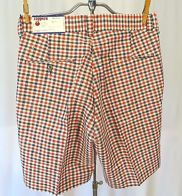Vintage 70s Rapper Walking Shorts Plaid Red White Blue Dead Stock w 32