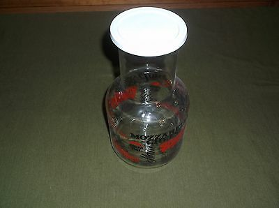 Vintage 1970's Pizza Hut Glass Water Carafe Jug w/Lid & Pizza Toppings Around It