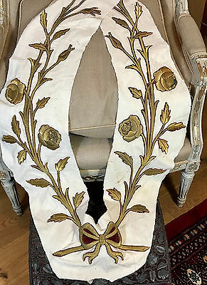 Antique French Gold Metallic Embroidered Stump Work Garland Roses