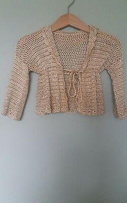 antique knitted silk ? baby cardigan vintage